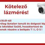 KÖTELEZŐ LÁZMÉRÉS 2020.10.01-TŐL